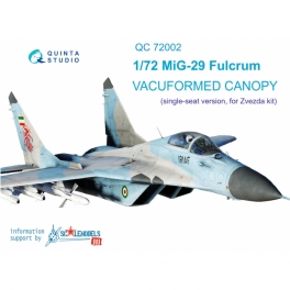 MiG-29 vacuformed clear canopy, 2 pcs, (for 7278, 7309 Zvezda kit)