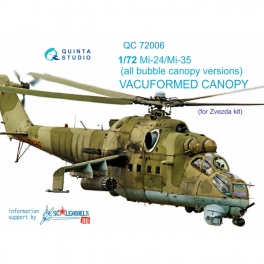 Mi-24/35 all bubble-version vacuformed clear canopy (for Zvezda kit)