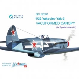 Yak-3 vacuformed clear canopy, open & close position (for Special Hobby kit)