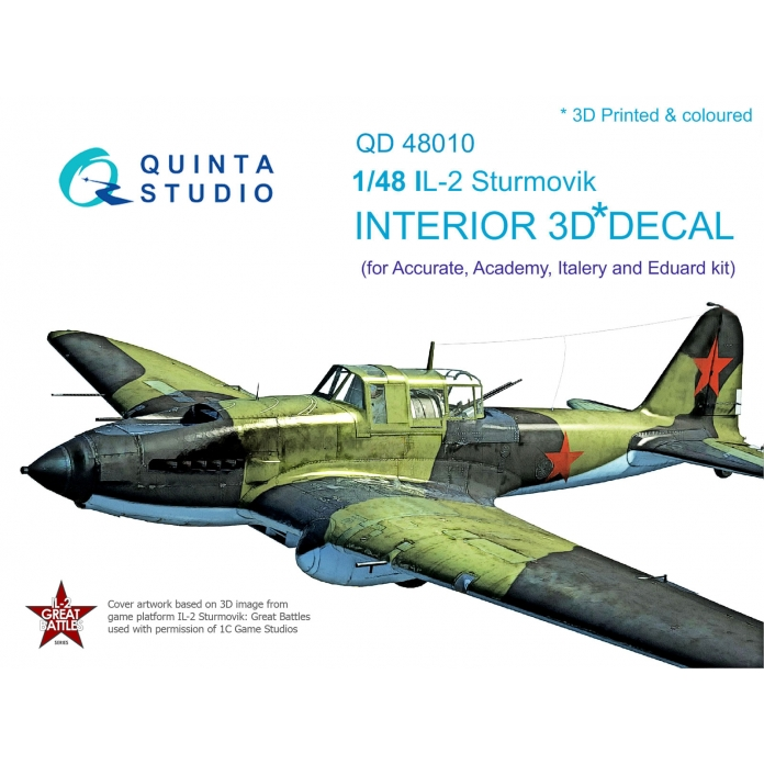 IL-2 3D-Printed & coloured Interior on decal paper (for Accurate/Italery/Academy/Eduard kits)