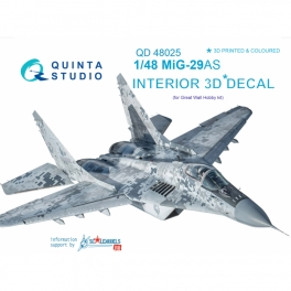 MiG-29AS (Slovak AF version) 3D-Printed & coloured Interior on decal paper (for GWH kits)
