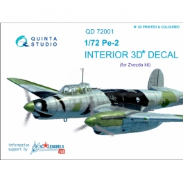 Pe-2 3D-Printed & coloured Interior on decal paper (for 7283 Zvezda kit)
