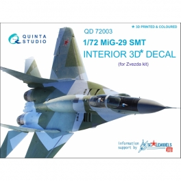 MiG-29 SMT 3D-Printed & coloured Interior on decal paper (for 7309 Zvezda kit)