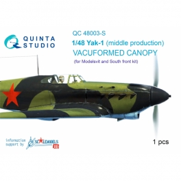 Yak-1 (middle production) vacuformed clear canopy, 1 pcs, (for SF or Modelsvit kit)
