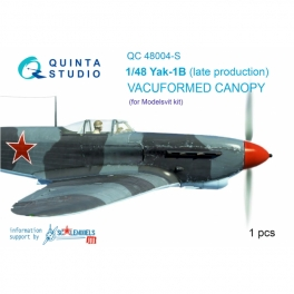 Yak-1B (late production) vacuformed clear canopy, 1 pcs, (for Modelsvit kit)