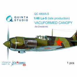 La-5 (late production) vacuformed clear canopy, 1 pcs, (for Zvezda kit)