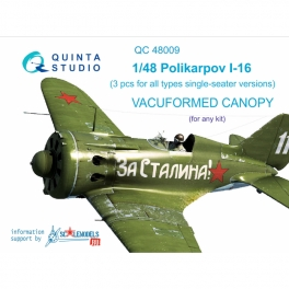 I-16 (All single seater version) vacuformed clear canopy, 3 pcs (for all kits)