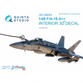 F/A-18 A++ 3D-Printed & coloured Interior on decal paper (for Kinetic)