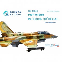 F-16I 3D-Printed & coloured Interior on decal paper (for Hasegawa kit)