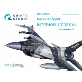 F-16С 3D-Printed & coloured Interior on decal paper (for Hasegawa kit)