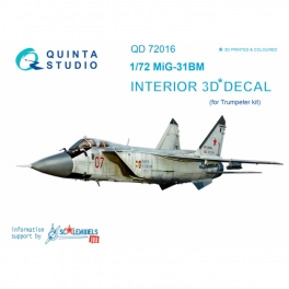 MiG-31BM 3D-Printed & coloured Interior on decal paper (for Trumpeter kit)
