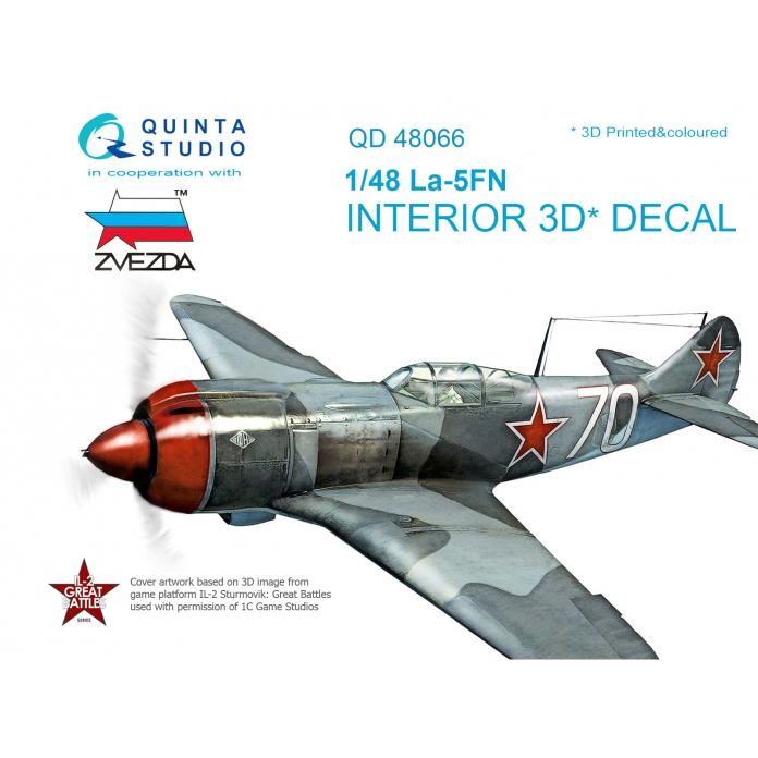 La-5FN 3D-Printed & coloured Interior on decal paper (for Zvezda kit)