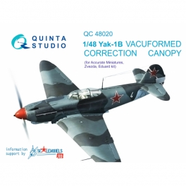 Yak-1B correction vacuformed clear canopy, 1 pcs, (for Accurate miniatures/Zvezda/Eduard kit)