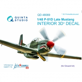 P-51D (Late) 3D-Printed & coloured Interior on decal paper (for Eduard kit)
