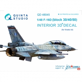 F-16D (block 30/40/50) 3D-Printed & coloured Interior on decal paper (for Kinetic kit)