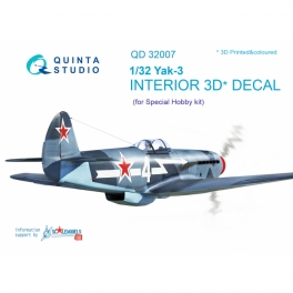 Yak-3 3D-Printed & coloured Interior on decal paper (for Special Hobby kit)