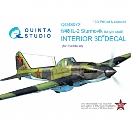 Il-2 Single seat 3D-Printed & coloured Interior on decal paper (for kit)