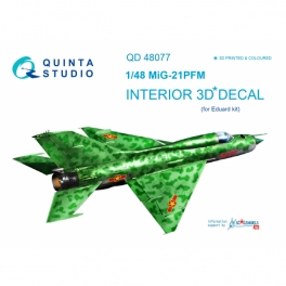 MiG-21PFM (emerald color panels) 3D-Printed & coloured Interior on decal paper (for Eduard kit)