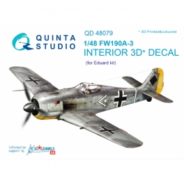 FW 190A-3 3D-Printed & coloured Interior on decal paper (for Eduard kit)