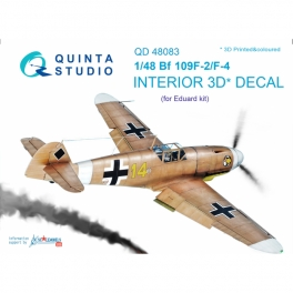 Bf 109F-2/F-4 3D-Printed & coloured Interior on decal paper (for Eduard kit)