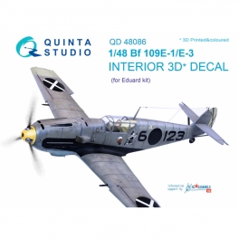 Bf 109E-1/E-3 3D-Printed & coloured Interior on decal paper (for Eduard kit)