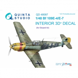 Bf 109E-4/E-7 3D-Printed & coloured Interior on decal paper (for Eduard kit)