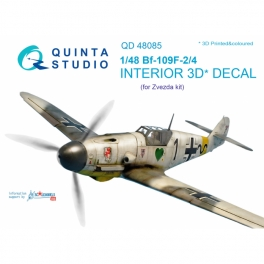 Bf 109F-2/F-4 3D-Printed & coloured Interior on decal paper (for Zvezda kit)