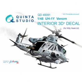 UH-1Y Venom 3D-Printed & coloured Interior on decal paper (for Kitty Hawk kit)