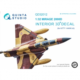 Mirage 2000D 3D-Printed & coloured Interior on decal paper (for Kitty Hawk kit)