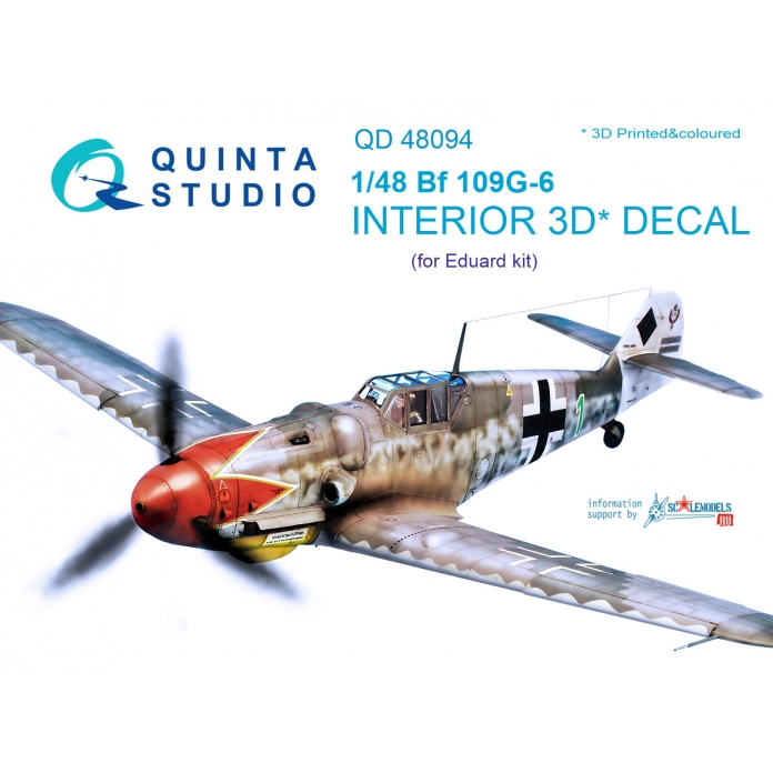 Bf 109G-6 3D-Printed & coloured Interior on decal paper (for Eduard kit)
