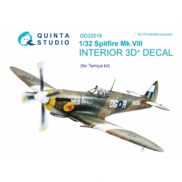 Spitfire Mk.VIII 3D-Printed & coloured Interior on decal paper (for Tamiya kit)