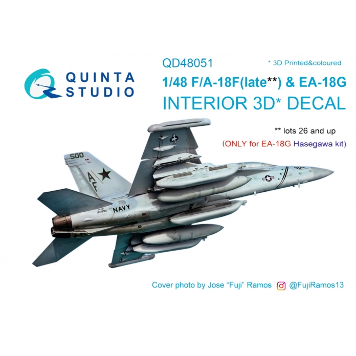 F/A-18F late / EA-18G 3D-Printed & coloured Interior on decal paper (for Hasegawa kit)