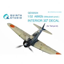 A6M2b (Mitsubishi prod.) 3D-Printed & coloured Interior on decal paper (for Tamiya kit)