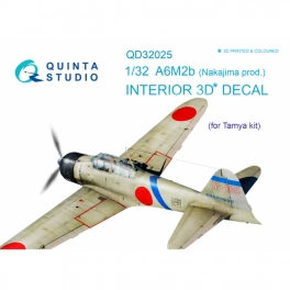 A6M2b (Nakajima prod.) 3D-Printed & coloured Interior on decal paper (for Tamiya kit)
