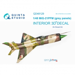 MiG-21PFM (grey color panels) 3D-Printed & coloured Interior on decal paper (for Eduard kit)