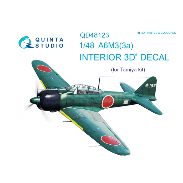 A6M3 3D-Printed & coloured Interior on decal paper (for Tamiya kit)